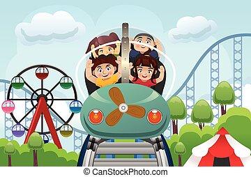 kinderen, vermakelijkheid park, spelend