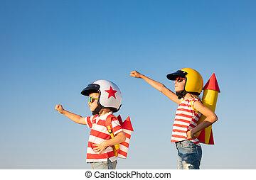 kinderen, vrolijke , spelend, zomer, buiten