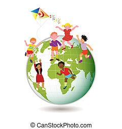 kinderen, wereld, ongeveer