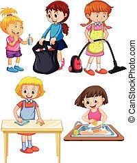 kinderen, witte achtergrond, housework