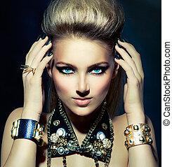 kipstang, stijl, mode, hairstyle, portrait., model, meisje