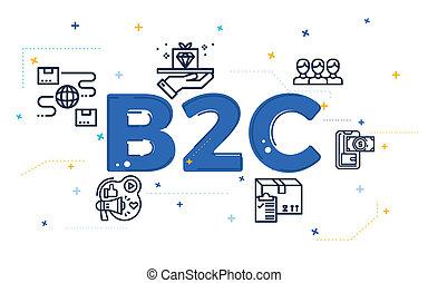 klant, (b2c), icons., illustratie zaak