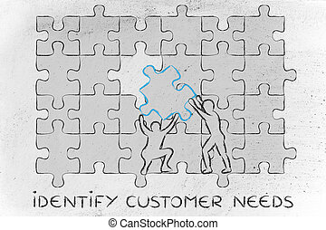 klant heeft nodig, compleet, missende , tekst, mannen, raadsel, identificeren, stuk
