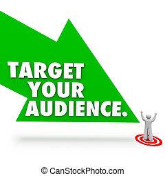 klant, vooruitzicht, doel, wijzende, publiek, richtingwijzer, woorden, jouw