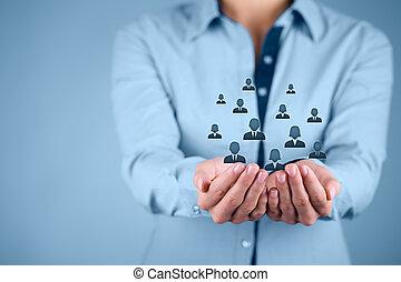 klant, werknemers, concept, of, care