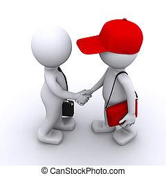 klant, zakenman, 3d, schuddende handen