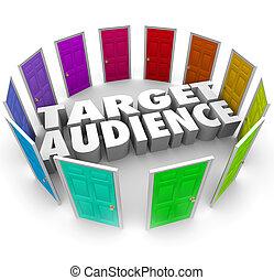 klanten, doel, zakelijk, lezers, groeien, publiek, deuren, jouw