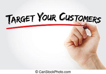 klanten, hand, doel, jouw, schrijvende