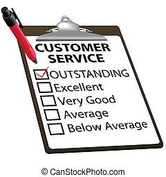 klantenservice/klantendienst, vorm, bijzonder, rapport, evaluatie