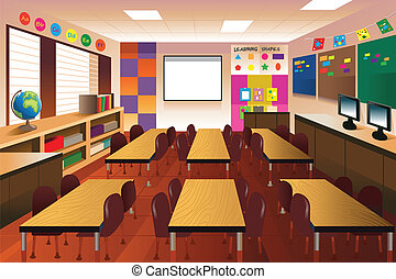 klaslokaal, basisschool, lege