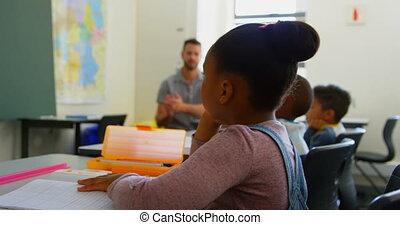 klaslokaal, scholieren, school, anders, applauding, groep, 4k
