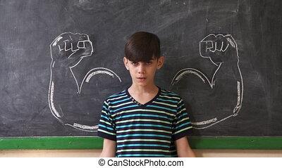 klaslokaal, spierballen, het tonen, sterke, kind, les, mannelijke