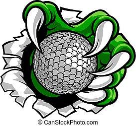 klauw, monster, sporten, hand, golf bal