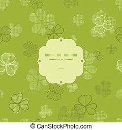 klavertje, model, frame, seamless, textuur, textiel, groene achtergrond