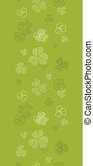klavertje, model, seamless, textuur, textiel, groene achtergrond, horizontaal, grens