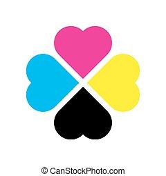 klavertje, printer, blad, vier, theme., illustratie, cmyk, vector, colors.