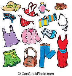 kleding, vrouw, verzameling