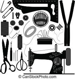 kleermaker, black , retro, naaiwerk