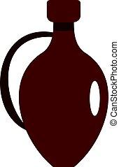 klei, pictogram, vrijstaand, kruik, wijntje