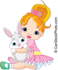 klein meisje, het koesteren, speelbal, konijntje
