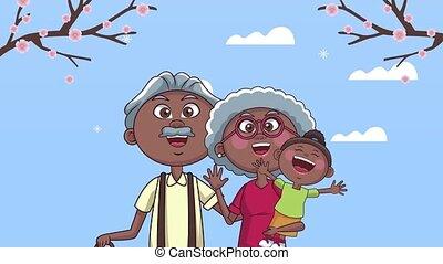 kleindochter, paar, grootouders, afro, animatie