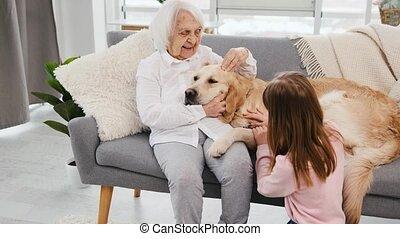 kleindochter, retriever, grootmoeder, gouden, dog