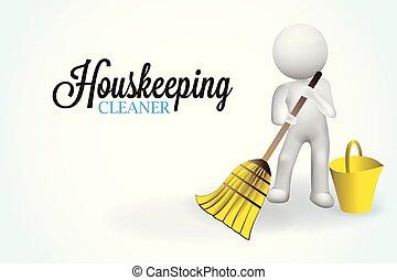 kleine, 3d, housecleaning, mensen
