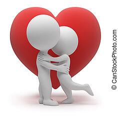 kleine, -, 3d, liefde, mensen