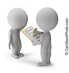 kleine, -, 3d, onderzoeken; inspecteren;, mensen