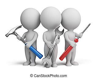 kleine, -, 3d, repairers, mensen