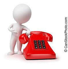 kleine, 3d, -, telefoon, mensen