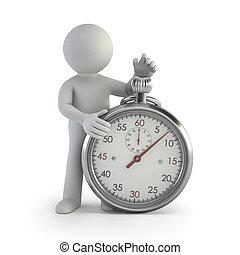 kleine, chronometer, -, 3d, mensen