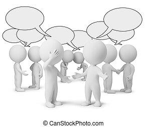 kleine, discussie, 3d, -, mensen