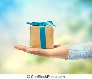 kleine, doosje, cadeau, hand