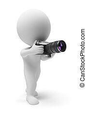 kleine, fotograaf, 3d, -, mensen