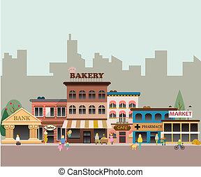 kleine, gebouwen, zakelijk