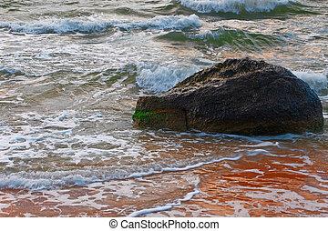 kleine, golven, verbreking, zee, rots