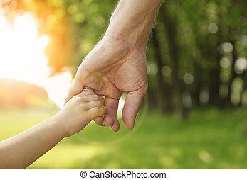 kleine, hand, kind, houden, ouder