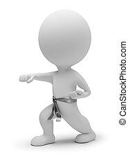 kleine, karate, 3d, -, mensen