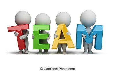 kleine, mensen, -, 3d, team
