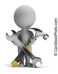 kleine, repairer, 3d, -, mensen