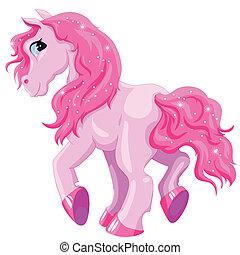 kleine, roze, pony
