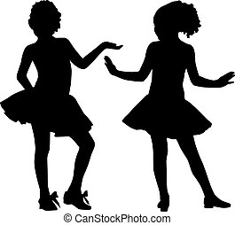kleine, silhouette, vrienden