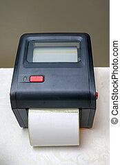 kleine, streepjescode, printer