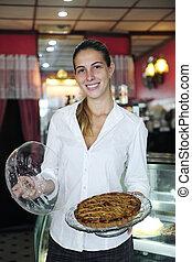 kleine, vrouwlijk, eigenaar, trots, koffiehuis, business: