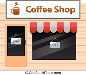 kleine, winkel, koffie, vector, pictogram