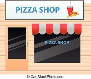 kleine, winkel, vector, pizza, pictogram