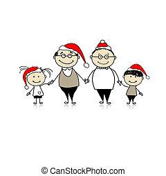 kleinkinderen, gezin, grootouders, -, samen, vrolijk, kerstmis., vrolijke