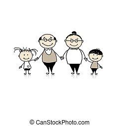 kleinkinderen, gezin, grootouders, -, samen, vrolijke