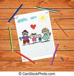 kleinkinderen, kleurrijke, grootouders, illustratie, hand, vector, getrokken, kinderen